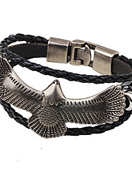 cheap -Men's / Women's Leather Bracelet - Gold Plated Eagle Fashion, Hip-Hop Bracelet Black / Coffee For Casual / Club
