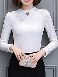 cheap -Women's Daily Going out Casual Winter Fall Blouse,Solid Stand Long Sleeves Polyester Medium
