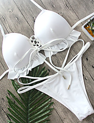 cheap -Women's Solid Solid Ruffle Plunging Neckline Lace Up Bikini Swimwear White