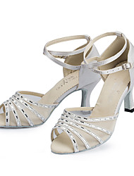 Women's Latin Silk Heel Indoor Buckle Black White Customizable