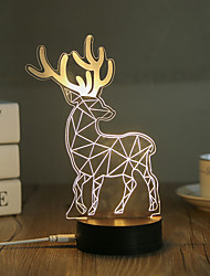 1 Set, Popular Home Acrylic 3D Night Light LED Table Lamp USB Mood Lamp Gifts, Deer