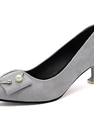 cheap -Women's Shoes PU Fall Basic Pump Comfort Heels Stiletto Heel Pointed Toe For Casual Dress Red Gray Beige Black