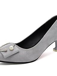 preiswerte -Damen Schuhe PU Herbst Komfort Pumps High Heels Stöckelabsatz Spitze Zehe Für Normal Kleid Schwarz Beige Grau Rot