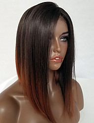 Women Human Hair Lace Wig Brazilian Remy Lace Front 130% Density Bob Haircut Straight Wig Black/Medium Auburn Short Virgin