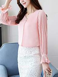 Women's Casual/Daily Simple Active Spring Fall Shirt,Solid V Neck Long Sleeves Polyester Medium