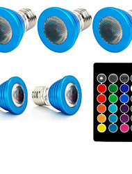 1set 3W E27 LED Spotlight 1 leds High Power LED Remote-Controlled Decorative RGB 240lm 610-640, 460-470, 501-540K AC85-265V