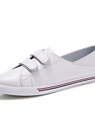 Damen Schuhe Echtes Leder Frühling Herbst Komfort Sneakers Flacher Absatz Runde Zehe Kombination Für Normal Weiß Schwarz