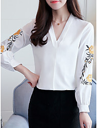 Women's Daily Work Cute Fall Blouse,Solid Embroidery V Neck Long Sleeves Polyester Thin