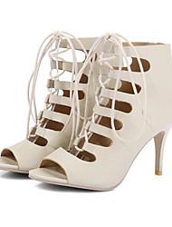 Feminino Sapatos Couro Ecológico Verão Outono Conforto Inovador Curta/Ankle Botas Salto Agulha Peep Toe Botas Curtas / Ankle Ziper Para