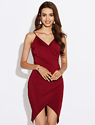 Women's Party Club Sexy Simple Ruched Backless Slim Grace Bodycon DressSolid Strap Mini Asymmetrical Sleeveless Summer High Rise Micro-elastic Medium