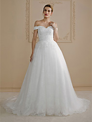 cheap -Ball Gown Off-the-shoulder Court Train Lace Wedding Dress with Beading Appliques by LAN TING BRIDE®