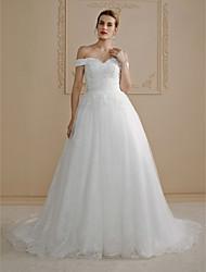 De Baile Cauda Corte Renda Vestido de casamento com Miçangas Apliques de LAN TING BRIDE®