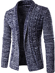 Men's Going out Regular Cardigan,Solid Round Neck Long Sleeves Others Spring Winter Medium Micro-elastic