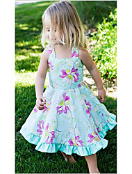 Girl's Birthday Daily Holiday Floral Dress,Cotton Summer Sleeveless Floral Light Blue