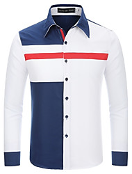Men's Holiday Going out Casual/Daily Work Club Simple Boho Cute Fall Winter Shirt,Color Block Shirt Collar Long Sleeves Cotton Medium