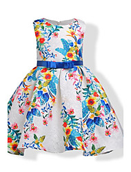 cheap -Girl's Birthday Daily Holiday Floral Jacquard Dress, Cotton Fall All Seasons Sleeveless Floral Bow White