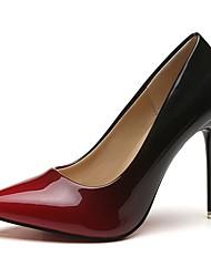 Недорогие -Жен. Полиуретан Осень Туфли лодочки Обувь на каблуках На шпильке Заостренный носок Серый / Красный / 2-3