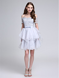 cheap -Ball Gown Bateau Neck Knee Length Lace Bridesmaid Dress with Bow(s)