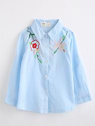 abordables -Camisa Chica Bordado Algodón Mangas largas Otoño Rosa Azul claro