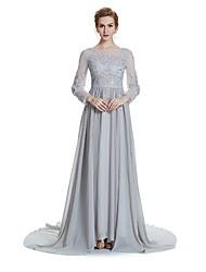 baratos -Linha A Decorado com Bijuteria Cauda Corte Chiffon Vestido Para Mãe dos Noivos - Detalhes em Cristal Bordado Faixa / Fita de W.JOLI