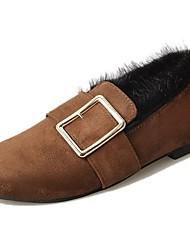 Недорогие -женская обувь pu зима комфорт снег сапоги квартира плоский каблук указательный палец для случайного коричневый черный