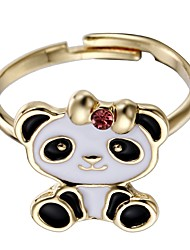 cheap -Women's Cuff Ring Jewelry Black Alloy Circle Panda Animal Design Adorable Christmas Party Costume Jewelry