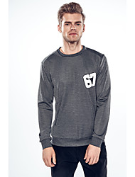 Men's Going out Casual/Daily Simple Sweatshirt Print Cut Out Round Neck Micro-elastic Cotton Long Sleeve Fall Winter