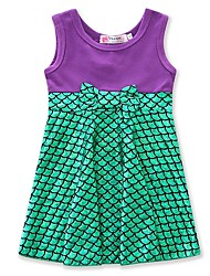 Girl's Birthday Casual/Daily Going out Geometric Patchwork Dress,Cotton Acrylic Spring Summer Sleeveless