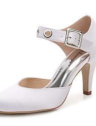 Для женщин Обувь Шёлк Весна Осень Туфли д'Орсе С ремешком на лодыжке Свадебная обувь На конусовидном каблуке Круглый носок Пряжки С