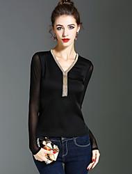 T-shirt Da donna Per eventi Per uscire Vintage Moda città Sofisticato Primavera Autunno,Tinta unita A V Poliestere Manica lunga Medio