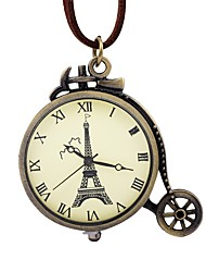 cheap -Men's Women's Pocket Watch Chinese Mechanical manual-winding Hollow Engraving Large Dial Leather Band Vintage Eiffel Tower Brown