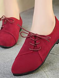 Недорогие -Для женщин Обувь Ткань Осень Удобная обувь Мокасины и Свитер На плоской подошве Заостренный носок Назначение Повседневные Бежевый Желтый