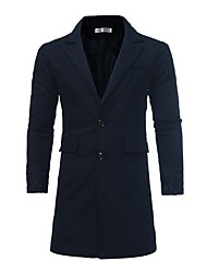 cheap -Men's Street chic Long Coat - Solid Colored, Print