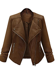 cheap -Women's Holiday Punk & Gothic Winter Fall Leather Jacket,Solid Round Neck Long Sleeve Regular Others