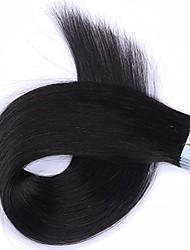 Недорогие -лента в наращивании человеческих волос шелковистая прямая кожа утка человеческие remy волосы 16-24