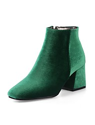cheap -Women's Shoes Velvet Spring Fall Comfort Fashion Boots Boots Chunky Heel Square Toe Booties/Ankle Boots Zipper For Wedding Party & Evening