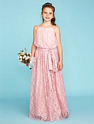cheap -A-Line Princess Spaghetti Straps Floor Length Lace Junior Bridesmaid Dress with Bow(s) Sash / Ribbon by LAN TING BRIDE®