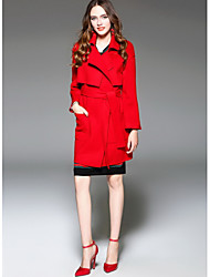 Women's Going out Cute Winter CoatSolid Shirt Collar Long Sleeve Long Wool
