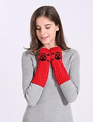 billige -Dame Vinterhandsker Håndledslængde Halv Finger Handsker Ensfarvet