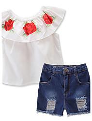 economico -Set Da ragazza Cotone Poliestere Con stampe Estate Pantaloni corti Completo