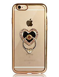 Недорогие -Назначение iPhone 6 iPhone 6 Plus Чехлы панели Покрытие Кольца-держатели Прозрачный Задняя крышка Кейс для С сердцем Мягкий Термопластик