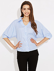 Women's Fine Stripe Casual/Daily Work Simple Spring Shirt,Striped V Neck ¾ Sleeve Cotton Opaque
