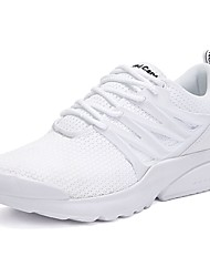 cheap -Men's Shoes PU Fabric Spring Fall Comfort Athletic Shoes Running Shoes Lace-up For Casual Outdoor Black/White Light Grey Black White