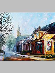 Pintados à mão Arquitetura Artistíco Ao ar Livre 1 Painel Tela Pintura a Óleo For Decoração para casa