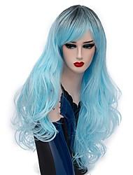 abordables -Pelucas sintéticas / Pelucas de Broma Ondulado Medio Pelo sintético Pelo Ombre Azul Peluca Mujer Larga Sin Tapa