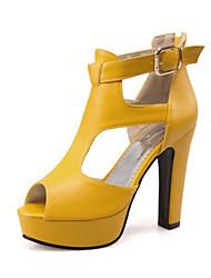 preiswerte -Damen Schuhe Künstliche Mikrofaser Polyurethan Sommer / Herbst Komfort / Neuheit / Stiefeletten Sandalen Blockabsatz Peep Toe Schnalle /