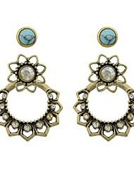 economico -Per donna Orecchini a goccia Perle finte Di tendenza Stile semplice Tormalina imitazione Lega A forma di fiore Gioielli Per Casual