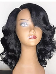 cheap -Remy Human Hair Full Lace / Glueless Full Lace Wig Brazilian Hair Wavy 130% / 150% / 180% Density 100% Virgin Women's Short / Long / Mid Length Human Hair Lace Wig