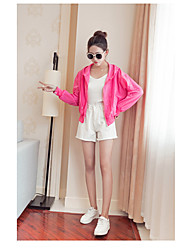 Women's Casual Casual Spring Jacket,Solid Hooded Long Sleeve Short Cotton Oversized