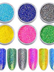 6 teile / satz candy farbe nagel glitter pailletten regenbogen nail art pigment pulver